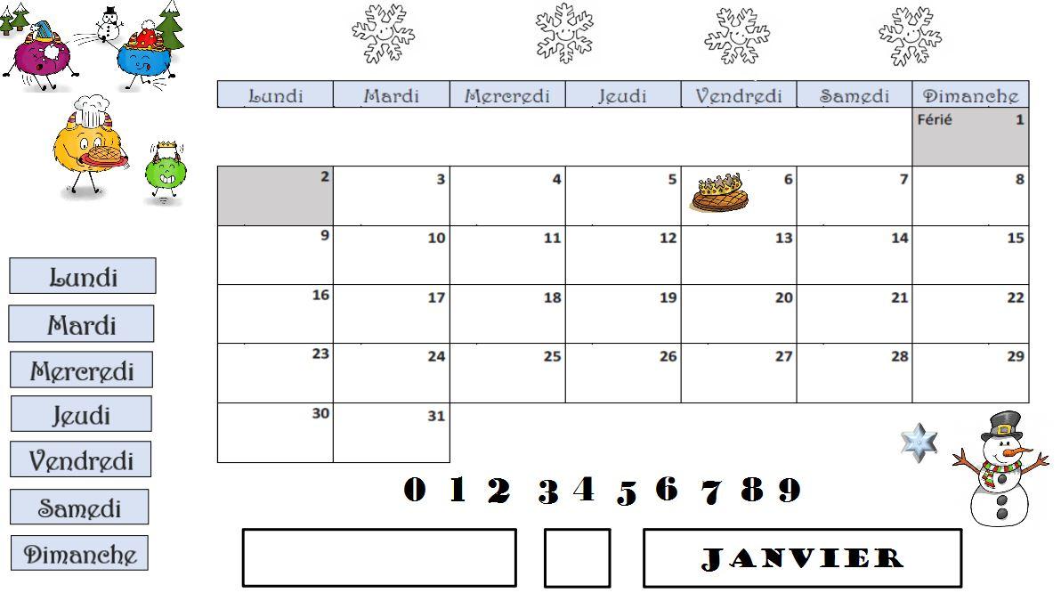 calendrier flipchart janvier Julie base maikresse Lin